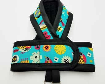 RETRO BIRDS TEAL Premium Cat Harness by ComfyStyles Your Choice Border / Walking Butterfly Vest / Ultra Light / Sphynx clothes & all breeds