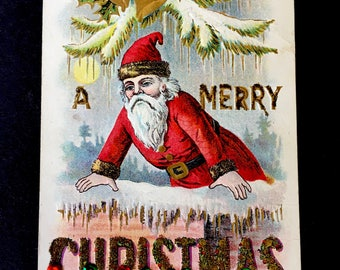 Sweet Edwardian Era Postcard with Santa Claus and Sequin Trim