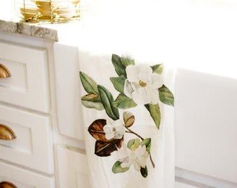 Magnolia Flour Sack Towel,Flour Sack Towels, Flour Sack Tea Towels, Kitchen Towel, Dish Towel, Farmhouse Kitchen Decor, Farmhouse Tea Towels