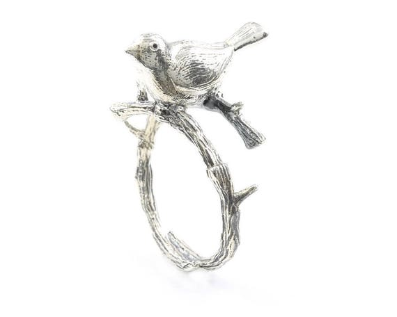 Sterling Silver Bird Ring, Bird On Branch, Tree Ring, Boho, Bohemian, Gypsy, Festival Jewelry, Animal Jewelry