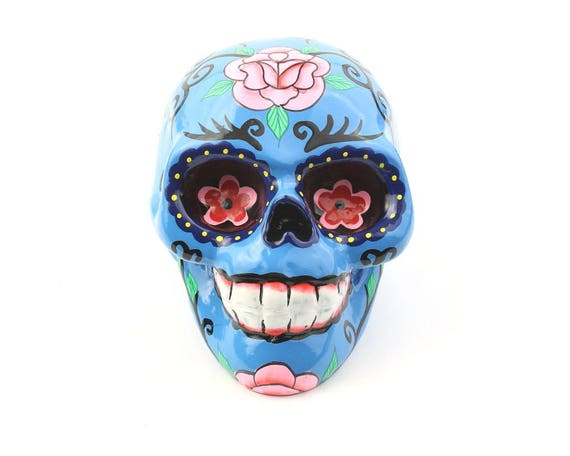 Blue Sugar Skull Decor, Hand Painted Skull, Mexican Sugar Skull, Home Decor, Day of the Dead, Decorative Skull