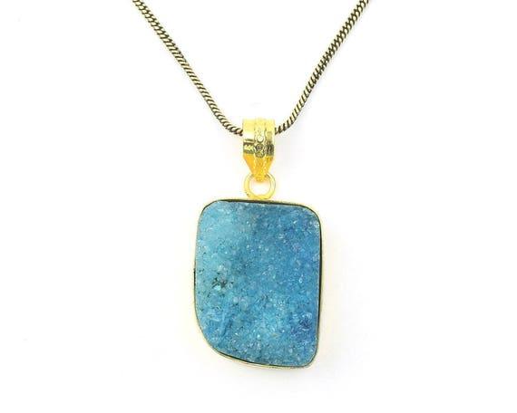 Blue Druzy Brass Necklace,  Dyed Quartz Drusy, Crystal Necklace, Raw Stone Jewelry, Festival Jewelry, Boho, Hippie