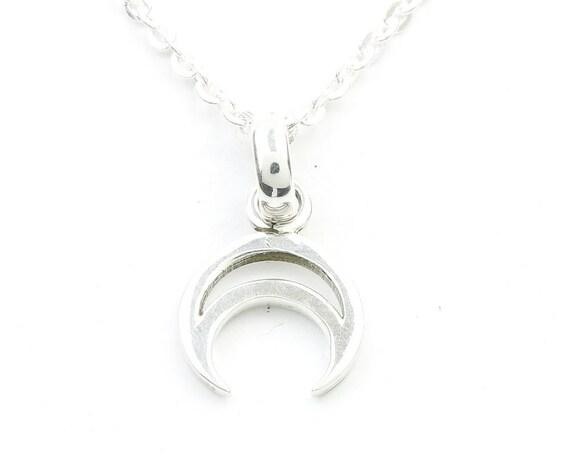 Crescent Moon Sterling Silver Necklace, Small Moon Jewelry, Minimal, Meditation, Spiritual, Boho, Gypsy, Festival