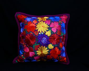 Mexican Embroidered  Purple Pillow Cover
