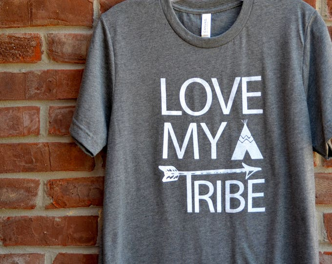 Featured listing image: Love My Tribe tee in deep heather crew neck unisex cut