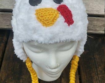 Crochet Fuzzy Chicken Hat