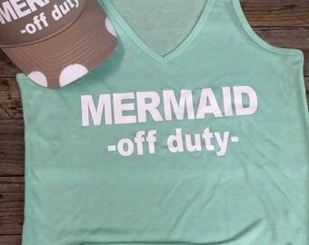 Mermaid Off Duty - Women's V Neck Tank
