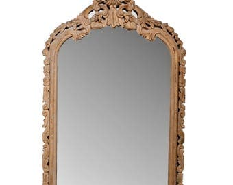 French Hand Carved Pine Crested Mantel Mirror c.1850 [1830]