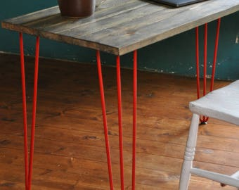Reclaimed Wood Desk Industrial Rustic Table Vintage Office Desk Rustic Furniture Hairpin legs Bespoke Office Desk