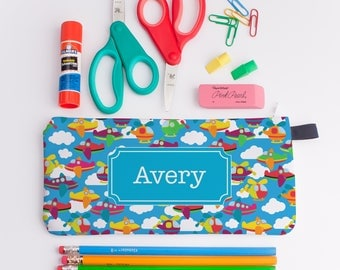 School Supplies, Personalized Pencil Case, Boys Pencil Case, Airplane Pencil Bag, Personalized Zipper Pouch, Boys Stocking Stuffer 0252