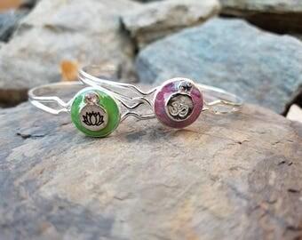 Zen Cuff Bracelet / om / lotus / yoga / gift idea