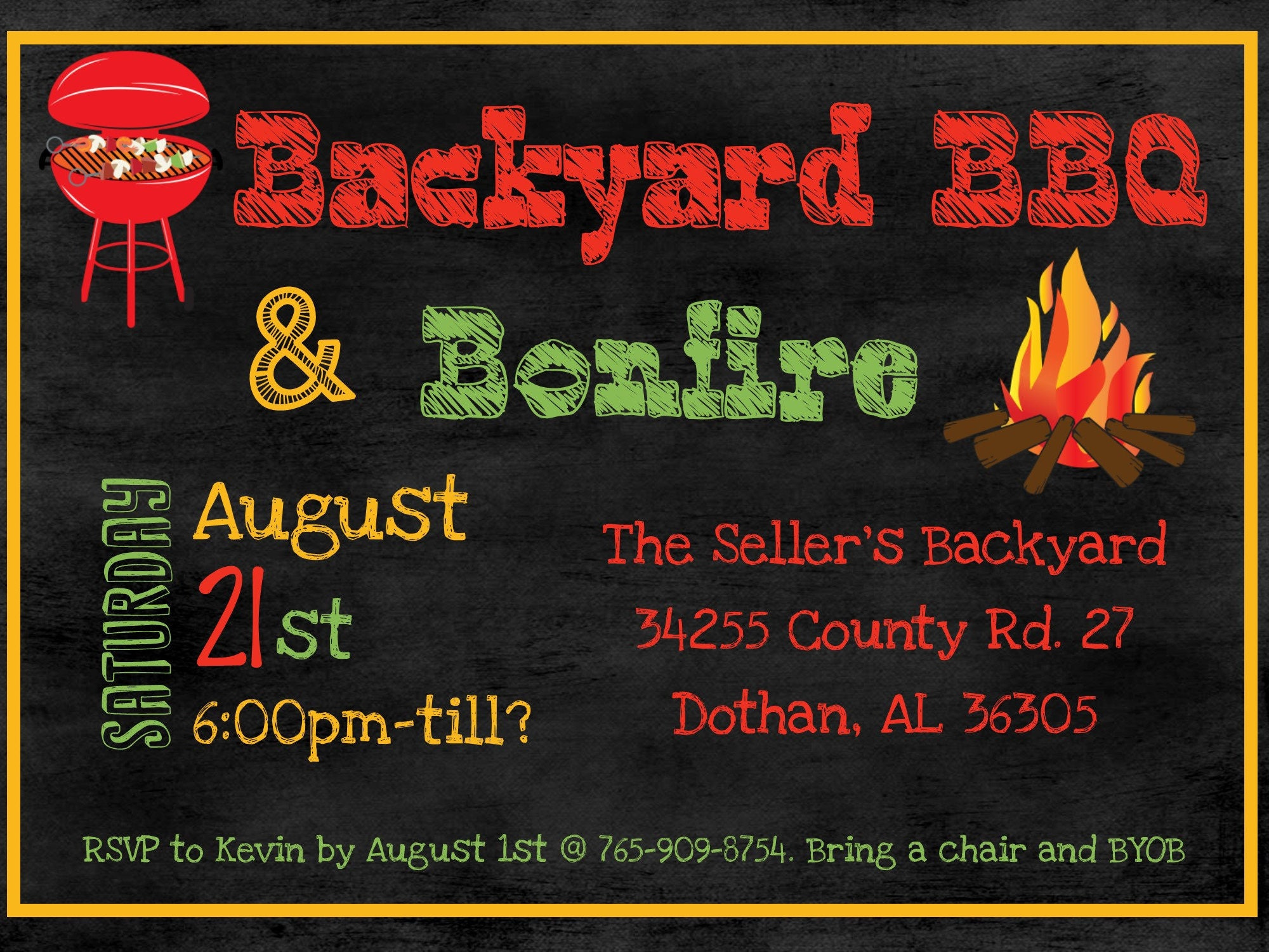 BBQ bonfire invitation bbq party invite bonfire party invitation ...