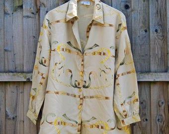 Vintage Blouse - Silk - Oversized - Long Sleeved - Equestrian - Horses - 90's