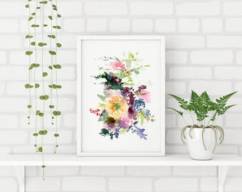 Floral Poster. Watercolor flowers. Wall art. Floral Painting. Fine Art. Room decor. Floral Bouquet. Print. Nursery decor. Illustration Card