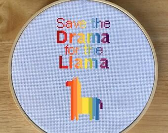 Rainbow Modern Cross Stitch Pattern, Cross-Stitch Chart PDF - Save the Drama for Llama Alpaca - Silly, Funny, Happy, Cute, Cheesy