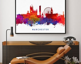 Manchester City, Manchester Skyline, Manchester Wall Art Decor, Birthday Gift, Home Decor Wall Art Print, Abstract Art Decor, Giclee (N114)