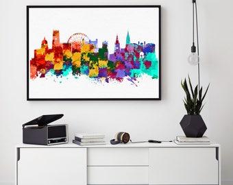 Nottingham City Print, Nottingham Skyline, Nottingham Wall Art Decor, Birthday Gift, Home Decor, Giclee Print, Bedroom Decorations (N1011)
