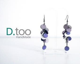 Collection_vera pelle_viola, lilac and white POLKA DOT earrings
