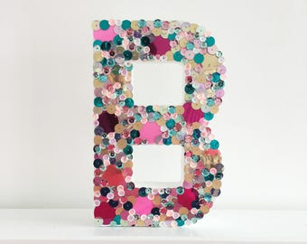 Personalised Embellished Sequin Letter, Sequin Initial, Sequin Monogram Letter, Wedding, Baby Shower, Christening, Words, Letters, Monogram