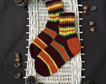 Wool socks, Hand knitted socks, Knit socks, Winter socks. Patterned socks, Handmade from Latvia