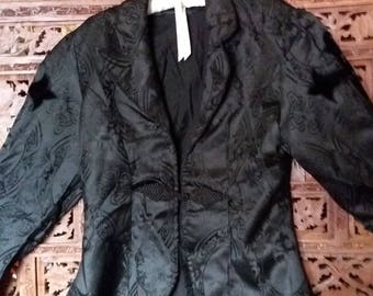 goth black brocade tailored riding jacket