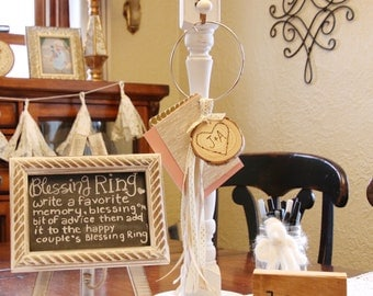 Bridal Blessing Ring, Rustic Shower Decoration, Guest Book Alternative, Woodsy Wedding Decor, Card Holder, Personalized Gift, Keepsake Gift