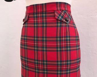60s Skirt, 60's Skirt, Red tartan check skirt