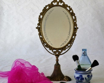 Brass Oval Vanity Mirror with Original Etched Glass, Art Nouveau, Boudoir Mirror, Pedestal Mirror, Adjustable Mirror, Dressing Table Mirror