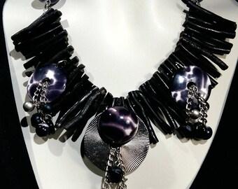 Big and bold choker, Safari statement necklace, black coral,animal print , Wow factor,