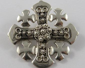 Sterling Silver Ornate Jerusalem Cross Brooch/Pendant
