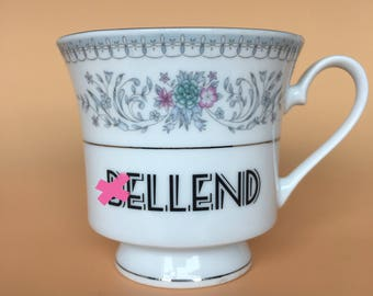 B*llend | Ready To Buy Swear Teacup and Saucer | Funny Rude Insult Obscenity Profanity | Unique Gift Idea