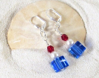 Blue, White and Red Patriotic Dangle Earrings -Independence Day Festive Earrings - Fourth of July Jewelry - Veteran Themed Earrings