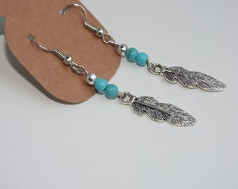 Bohemian earrings - turquoise jewelry - turquoise beads - feather earrings - boho jewelery - summer inspiration - navajo style jewelry