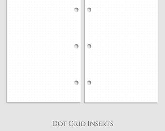 "Dot Grid Inserts ~ Dotted Filler Paper ~ Half Letter / 5.5"" x 8.5"" / Mini 3-Ring (3RM-D)"