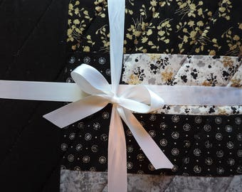 Black & White Lap Quilt, Coffee Lover's Quilt, Great Gift