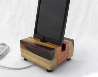 Cell phone stand, rainbow wood iphone dock, charging station, iphone 6 dock, iphone 7 dock, wood phone stand, iphone charger stand.