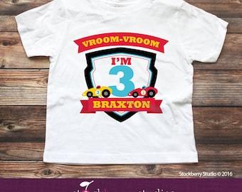 Race Car Birthday Shirt - Personalized Boy Birthday Shirt - Racecar Birthday Party - Custom Birthday Shirt  - Race Car Shirt or Raglan Shirt