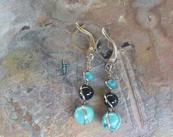 silver torquoise and onyx beaded earrings