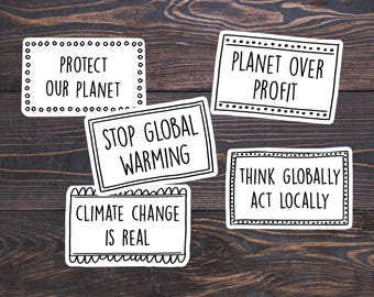Environmental Stickers, Eco Decal, Ecology, Climate Change Sticker, Global Warming, Think Green, Save the Earth Day Sticker, Mother Earth