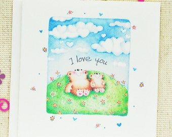 I Love you card, Wedding Anniversary card,Cute Anniversary Card, Cute Love Card, I love you, Anniversary, Valentine Card, Teddy bear Card