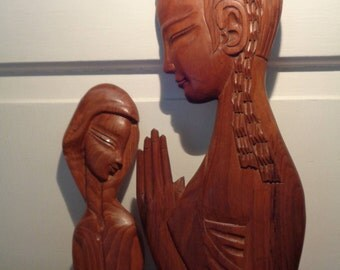 Vintage, Hand Carved Wood Mother and Child , 2 Pcs, Wall Art, Sculpture