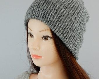 Slouchy beanie hat, womens beanie, mens beanie, knit beanie hat, knit hat women, knit hat men, gray beanie, size S-L