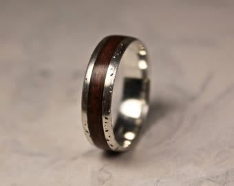 Rustic Silver Ring, Sterling Silver Band, Bentwood Ring, Rosewood Wooden Wedding Band, Organic Jewelry.