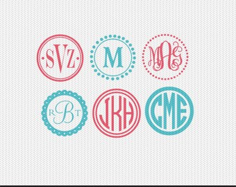 circle monogram frame svg dxf file instant download silhouette cameo cricut clip art commercial use
