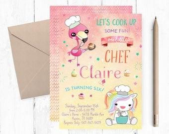 Chef Invitation, Flamingo Cooking Invitation, Unicorn Cooking Birthday Party Invitations, Chef Invites, Chef Invite, Chef Birthday Party,