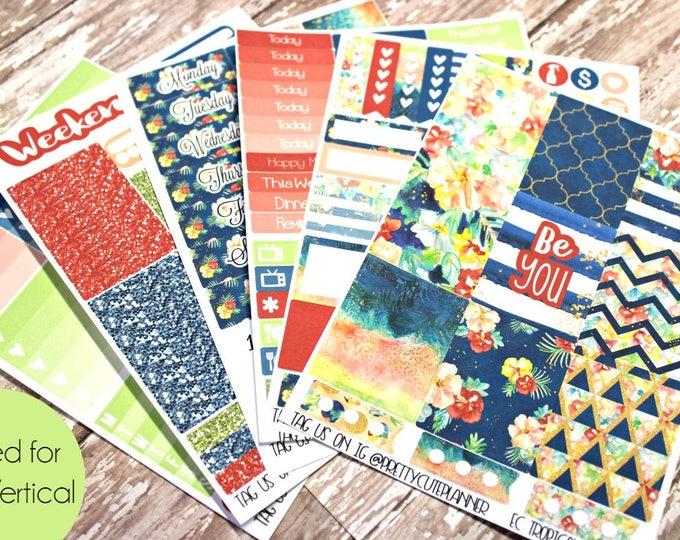 Planner Stickers - Fits Erin Condren Vertical - Tropical Summer Planner Stickers - Ala Carte Weekly Sticker Kit - Summer Planner Stickers