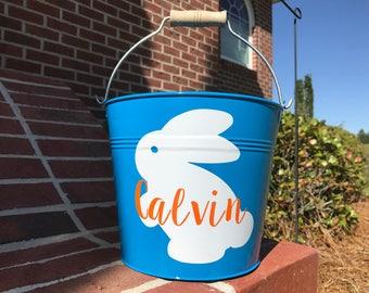 Bunny Easter Bucket, Custom Metal Easter Bucket, Name Easter Bucket, Light Blue Easter Bucket, Personalized Metal Easter Basket