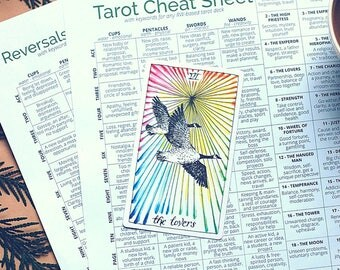 Tarot Card Cheat Sheet, a tarot printable for divination and tarot card reading with all 78 tarot cards and reversed tarot card meanings