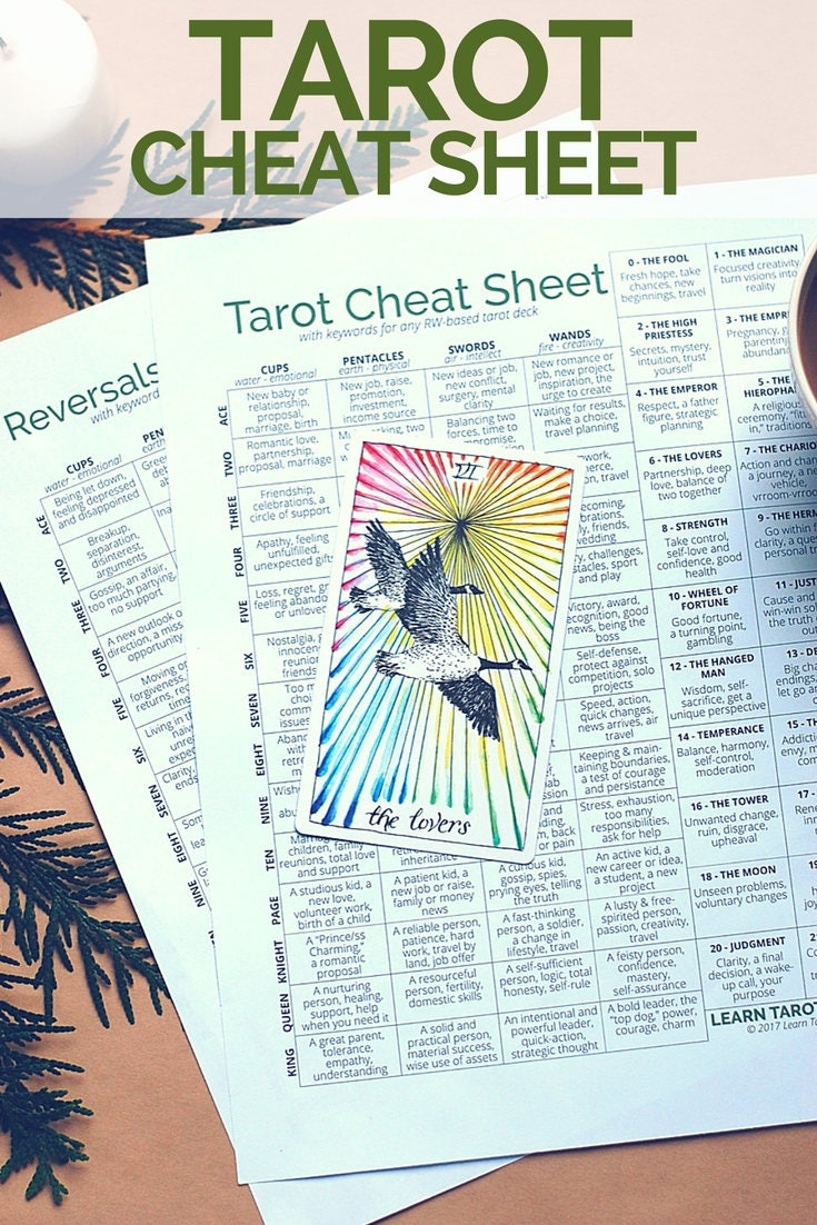Tarot And More 3 Tarot Symbolism: Tarot Card Cheat Sheet A Tarot Printable For Divination And
