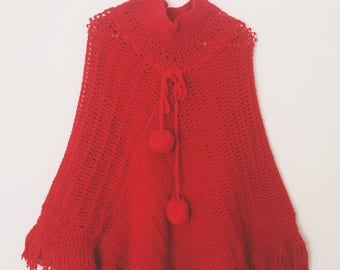 Vintage Red Knitted Poncho
